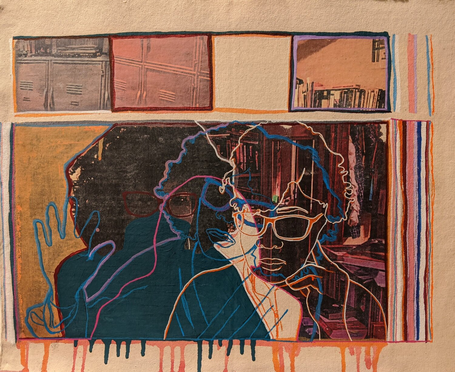 A piece of mixed-media art with a tan background; 4 squares on the top of the canvas represent abstract images from school including lockers and a library. The main portion of the image is a facsimile of a computer screen with abstract individuals and the layers of drawing and sketching. The image drips paint on to the lower part of the piece of art.