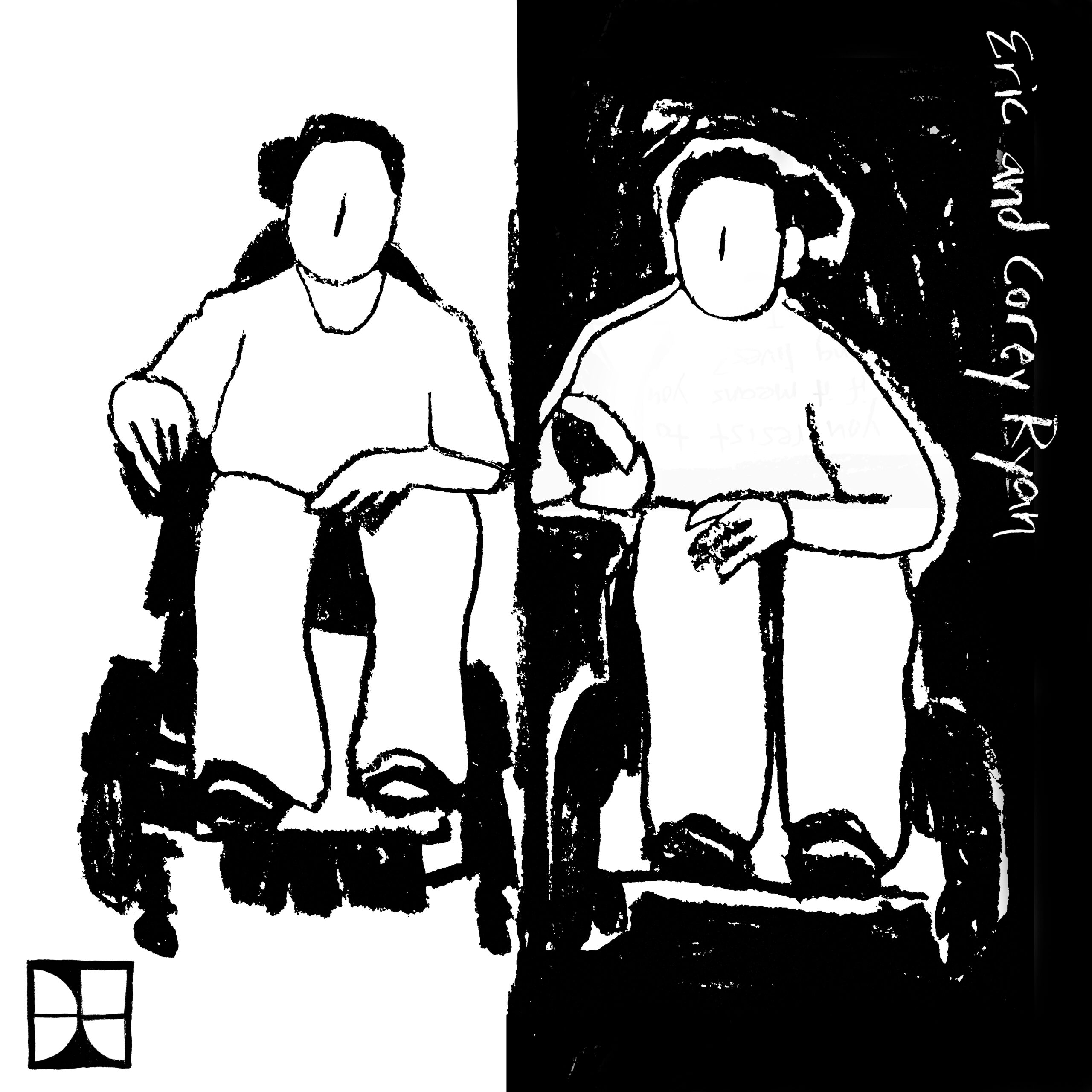 Black and white charcoal drawing. Two people sit side by side in power wheelchairs. The left half of the background is white and the right half is black. Eric and Corey Ryan are written along the upper right edge of the drawing. The DisTopia logo is in the lower left corner.