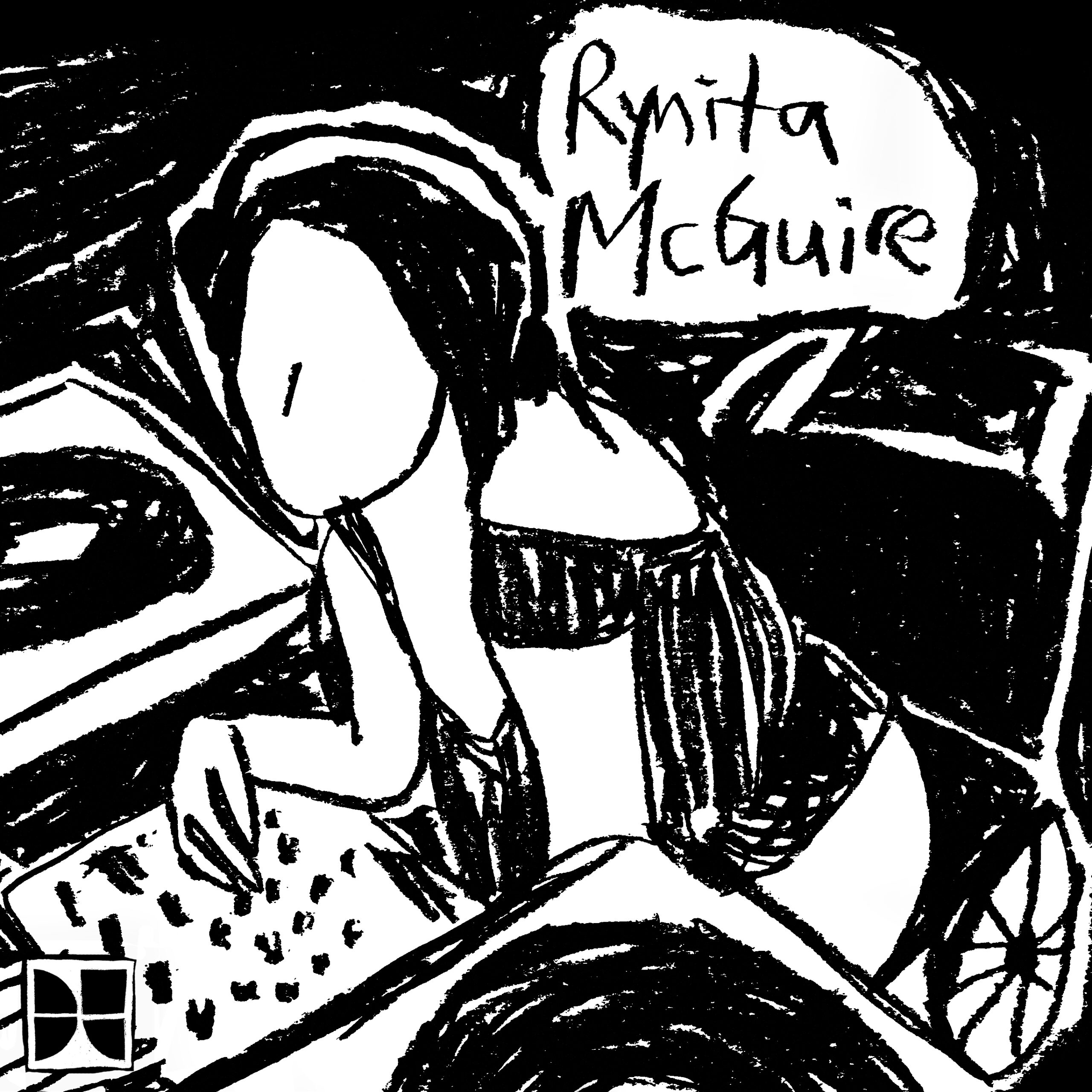 Black and white charcoal drawing of Rynita at her turntable with Rynita McGuire written in a white thought bubble in the upper right corner